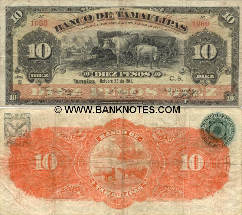 Mexico 10 Pesos 1914 (F 14064) (circulated) Fine