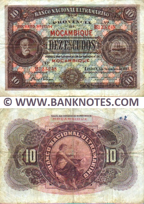 Mozambique 10 Escudos 1941 (B123,248) (circulated) Fine+
