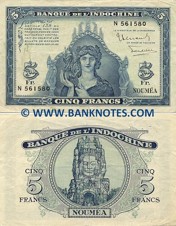 New Caledonia 5 Francs (1944) (Serial # N 561580) (circulated) VF