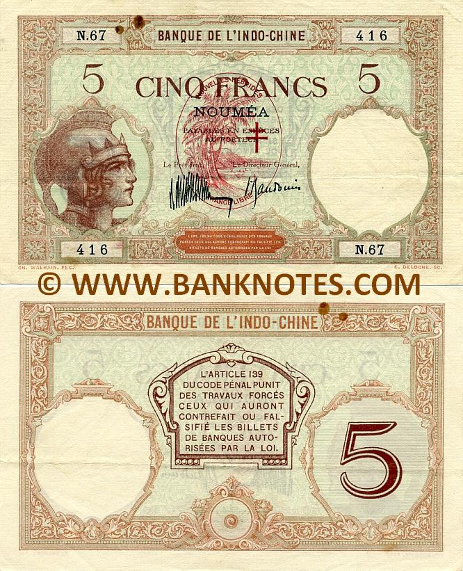 New Hebrides 5 Francs (1941) RARE (N.67/416) (3 rs) (lt. circulated) VF-XF