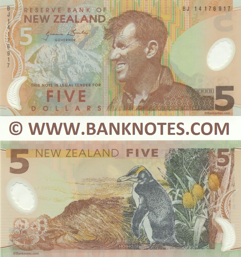 New Zealand 5 Dollars 2014 (BJ 141769xx) Polymer UNC