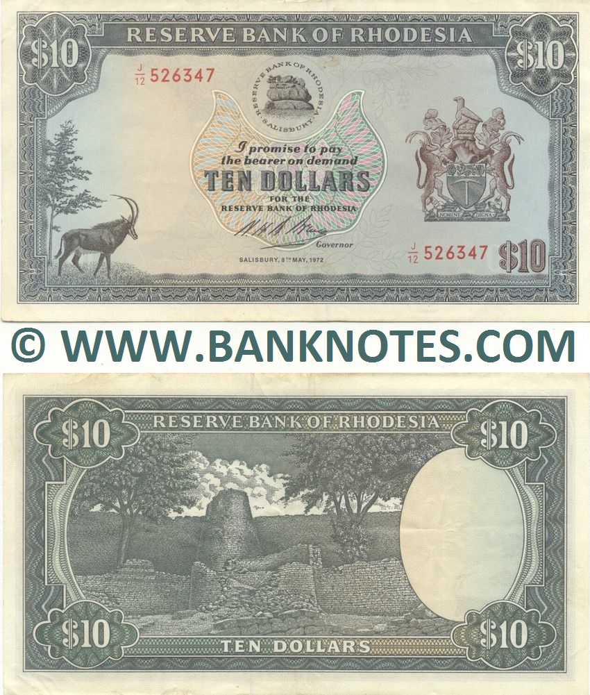 Rhodesia 10 Dollars 8.5.1972 (J/15 773263) (circulated) VF