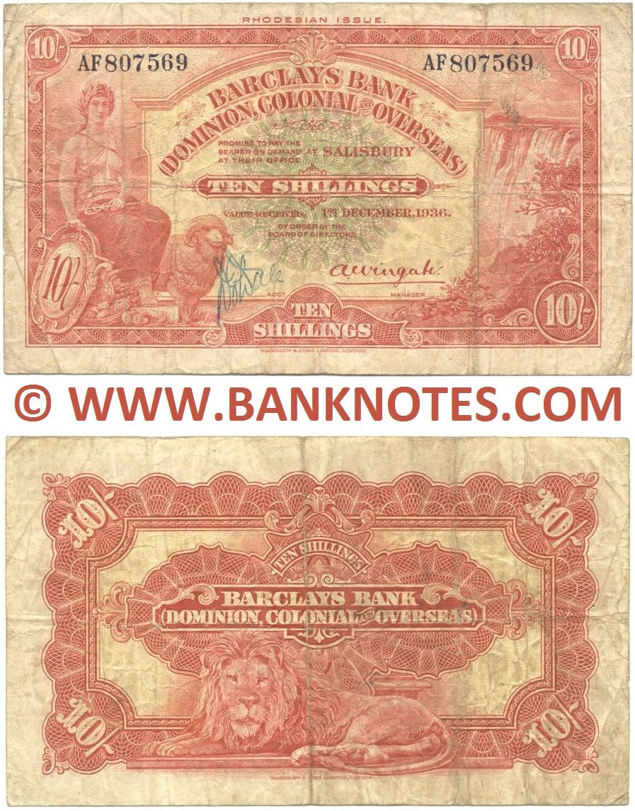 Rhodesia (Barclays Bank) 10 Shillings 1.12.1936 (AF807569) (circulated) Fine