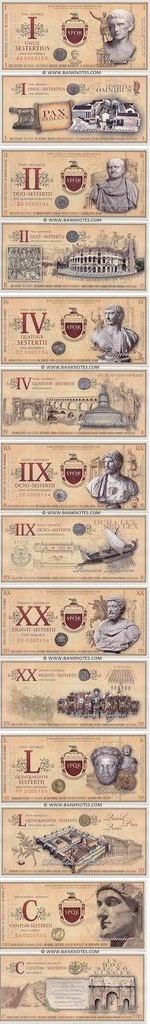 Roman Empire Commemorative set of 7 notes: 1, 2, 4, 8, 20, 50, 100 Sesterces 2007 UNC