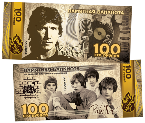 Russia 100 Rubles 2019 Pink Floyd Commemorative (AA000xx) plastic UNC