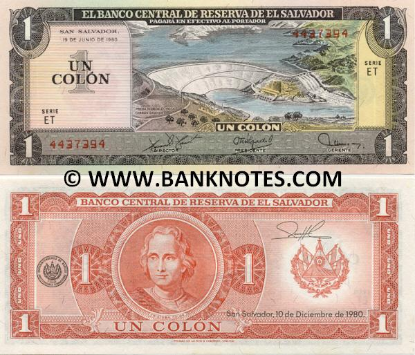 El Salvador 1 Colon 19.6.1980 (ET 44373xx) UNC