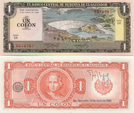 El Salvador 1 Colon 3.6.1982 (GD 98869xx) UNC