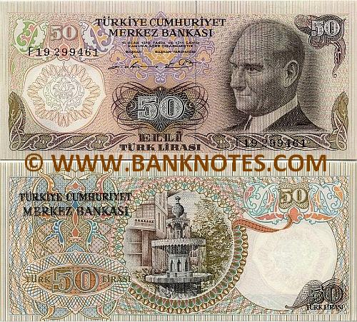 Turkey 50 Lira (1976) (I83/6763xx) UNC