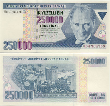 Turkey 250000 Lira (1998) (H04/3643xx) UNC