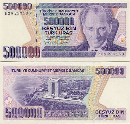 Turkey 500000 Lira (1998) (L50/8511xx) UNC