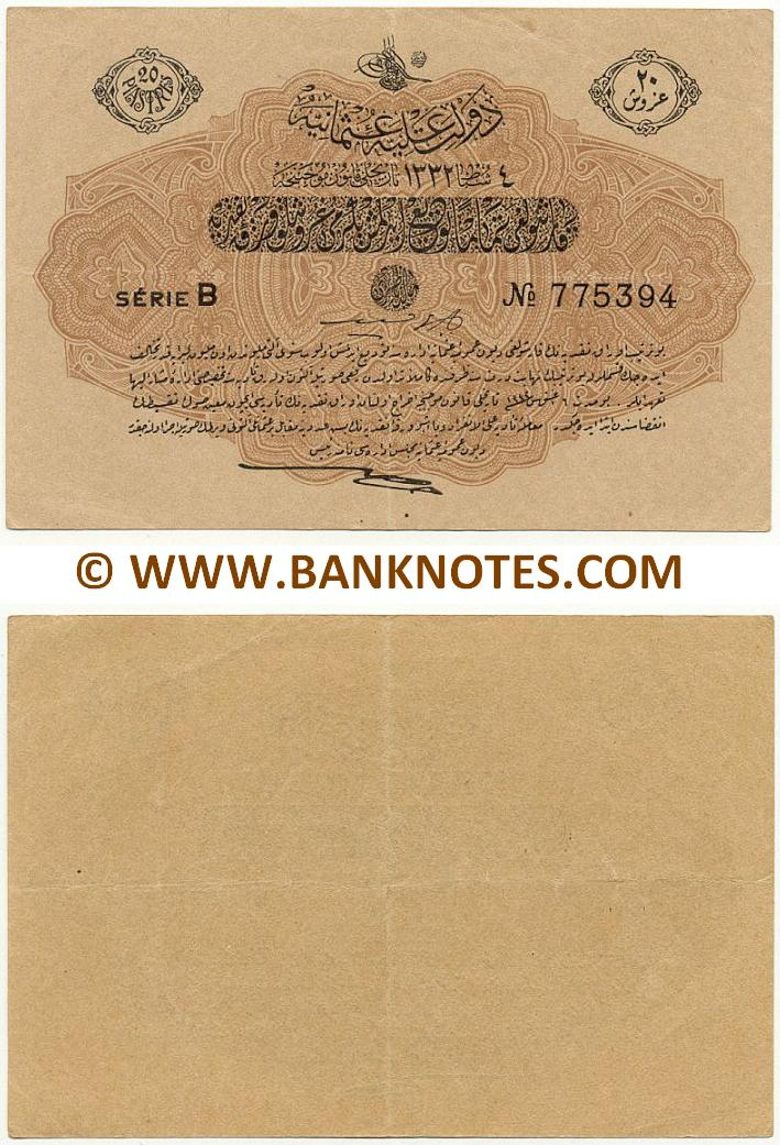 Turkey 20 Piastres L.4.2.AH1333 (1913) (B-775394) (circulated) VF-XF