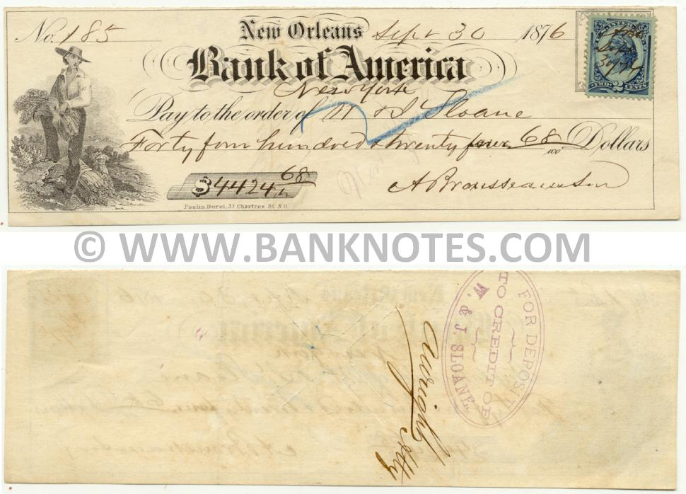 United States of America: New Orleans: Bank of America: NY Canceled Check for $4424 1876 (used) XF