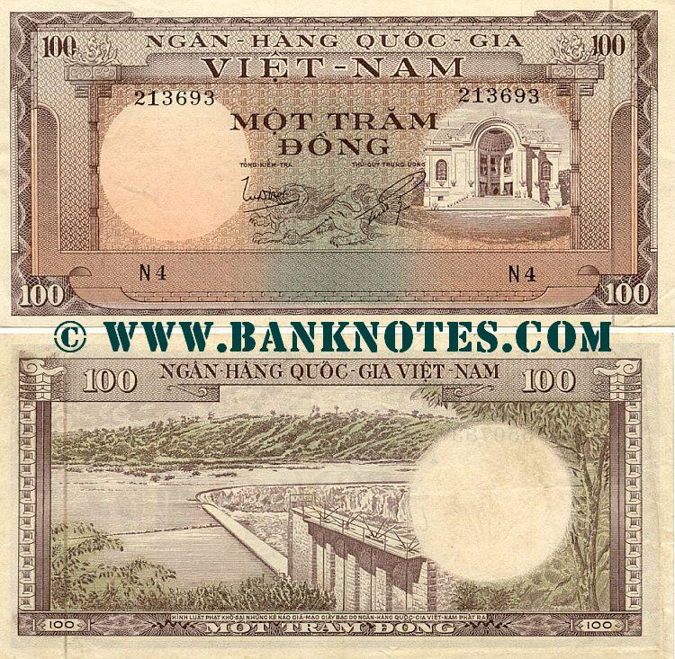 South Viet-Nam 100 Dong (1960) (G4/489476) (circulated) VF-XF