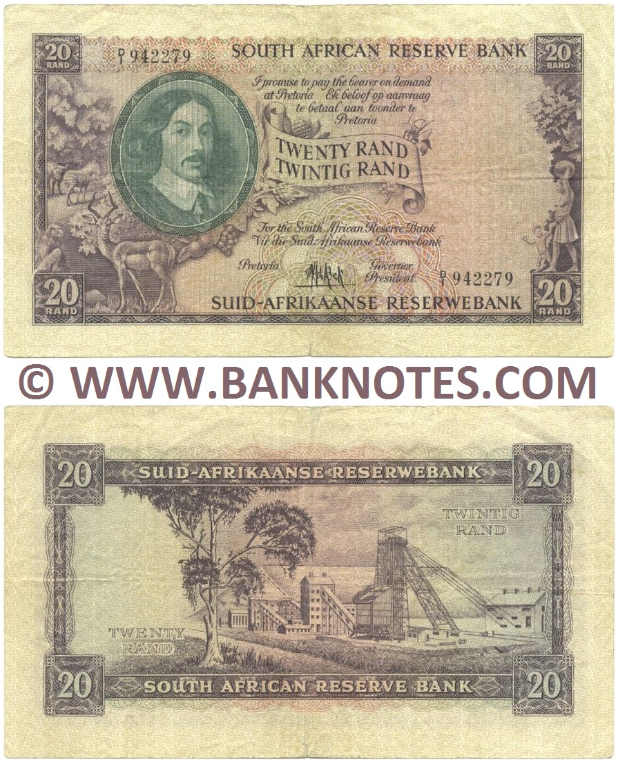 South Africa 20 Rand (1961) (D/1 942279) (circulated) F-VF