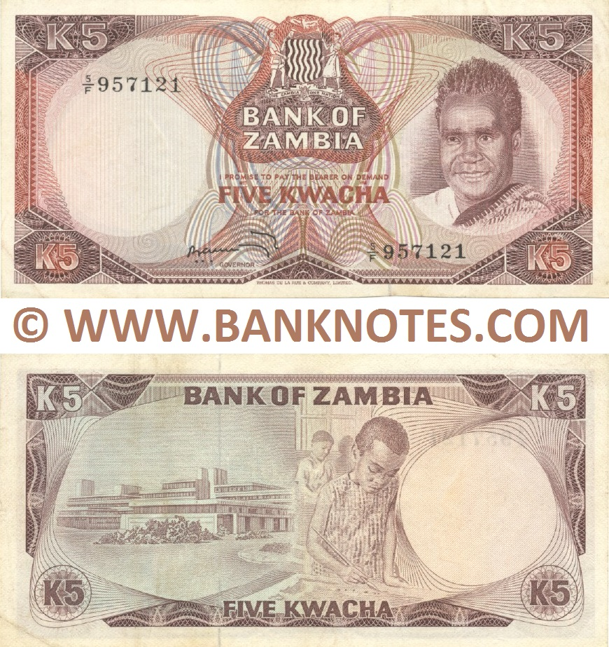 Zambia 5 Kwacha (1973) (5/F 957121) (lt. circulated) XF