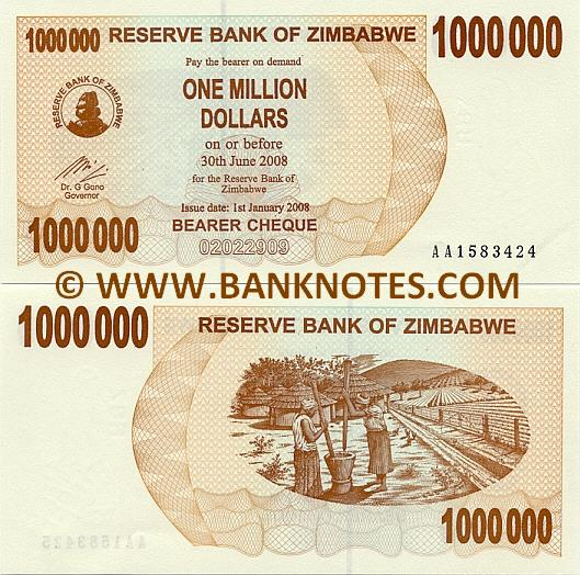 Zimbabwe 1 Million Dollars 2008 (AA15834xx) UNC