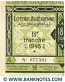 Algeria lottery half-ticket 90 Francs 1945. Serial # 077301 UNC