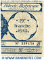 Algeria lottery half-ticket 90 Francs 1945 Serial # 289130 UNC