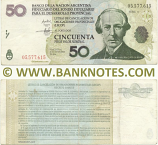Argentina 50 Pesos 2001 LECOP (Serie A) (ink writings) (circulated) VF