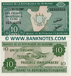 "Burundi 10 Francs 2007 (weak ""00"" in CG3003xx) UNC"