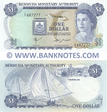 Bermuda 1 Dollar 1.5.1984 (Sig: Gibbons+Flett) (A/7 487277) (circulated) VF-XF