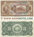 Bolivia 20 Bolivianos L.1928 (H2/017233) (lt. circulated) XF