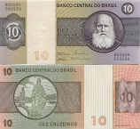 Brazil 10 Cruzeiros (1980) (Series B) (lt. circulated) XF+