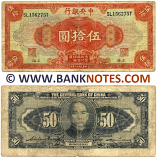 China 50 Dollars 1928 (SL156275T) (heavily circulated) VG