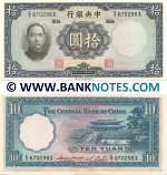 China 10 Yuan 1936 (E/T 670298X) (lightly circulated) XF-AU