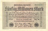 Germany 50 Million Mark 1.9.1923 (LE-24/046828) (circulated) VF