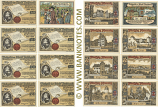 Germany Town of Butzbach, Set of 8: 1x25Pf.+7x50Pf. 1921 (L204) (68594, A24784, B17096, C17096, D17990, E17985, F17990, G15722) UNC