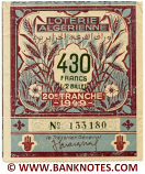 Algeria lottery 1/2 ticket 430 Francs 1949 Serial # 133180 VF-XF