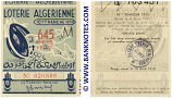 Algeria lottery 1/2 ticket 645 Francs 1950 Serial # 020809 UNC