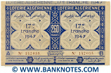 Algeria Lottery ticket 130+130=260 Francs 1947. Serial # 142055 (new) AU