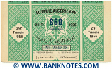 Algeria Lottery ticket 860 Francs 1956. Serial # 254878 XF