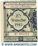 Algeria lottery half-ticket 130 Francs 1945. Serial # 048824 UNC