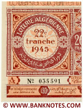 Algeria lottery half-ticket 130 Francs 1945 Serial # 035591 UNC