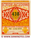 Algeria lottery 1/2 ticket 430 Francs 1956 Serial # 151335 AU
