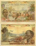 Gabon 5000 Francs (1963) (Q.180D/4490479) (circulated) VG-F