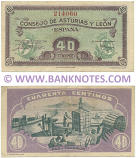 Spain 40 Centimos (1936) (Consejo de Asturias y León) (#214060) (circulated) VF-XF
