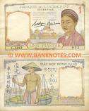French Indo-China 1 Piastre (1936) (ser#varies) (circulated) VF
