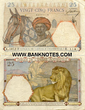 French West Africa 25 Francs 1936 (O.395/09863342) (circulated) F+