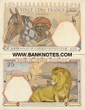 French West Africa 25 Francs 1942 (L.2480/61985542) (circulated) F-VF