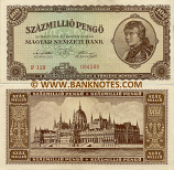 Hungary 100 Million Pengö 18.3.1946 (P130/005150) (lt. circulated) XF