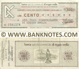 Italy Mini-Cheque 100 Lire 1.9.1976 (Banca Agr. C. di Reggio Emilia) (CL 3157958) (circulated) VF