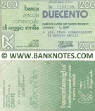 Italy Mini-Cheque 200 Lire 3.10.1977 (Banca Agr. C. di Reggio Emilia) (DL 1384370) (circulated) F