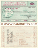 Italy Mini-Cheque 100 Lire 12.9.1977 (La Banca Credito Agrario Bresciano) (106419764) (circulated) F-VF