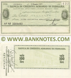 Italy Mini-Cheque 100 Lire 3.1.1977 (Banca di Credito Agr. di Ferrara) (AF Nº 161794) (circulated) F-VF