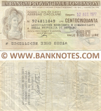 Italy Mini-Cheque 150 Lire 22.9.1977 (La Banca Provinciale Lombarda) (925182822) (circulated) F