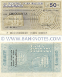Italy Mini-Cheque 50 Lire 21.2.1977 (Banca Popolare di Milano) (082598984) (circulated) F-VF